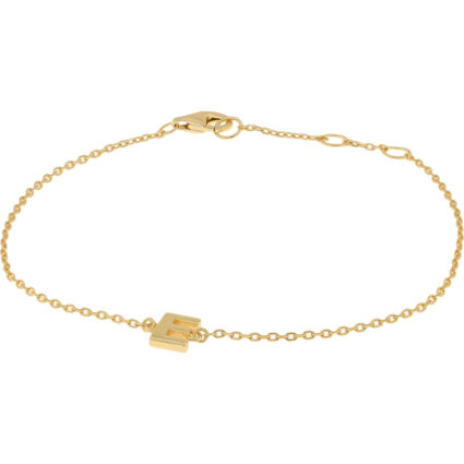 Gold Plated Sterling Silver Initial E Bracelet