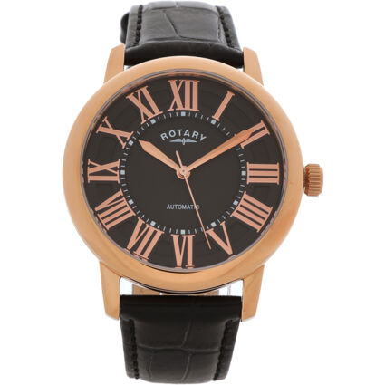 Black & Rose Gold Tone Leather Automatic Watch