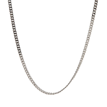 Platinum Plated Sterling Silver Curb Chain Necklace