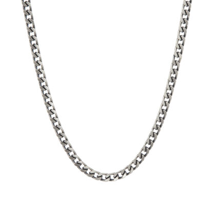 Oxidised Plated Sterling Silver Curb Chain Necklace