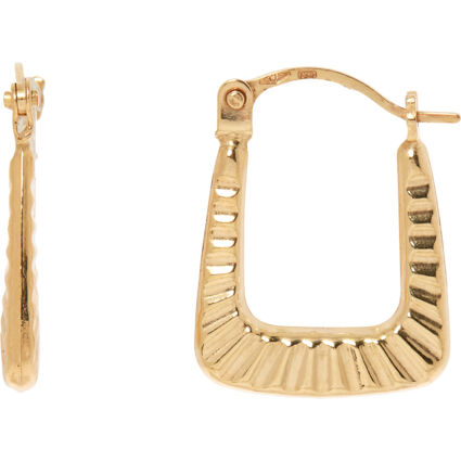 9ct Yellow Gold Ribbed Creole Earrings