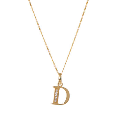 9ct Yellow Gold D Initial Necklace