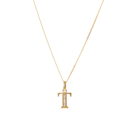 9ct Yellow Gold T Initial Necklace