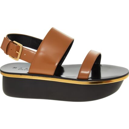 Black & Brown Leather Flat Sandals
