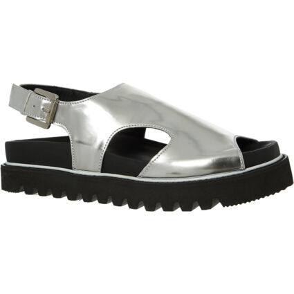 Silver Tone Leather Flat Sandals