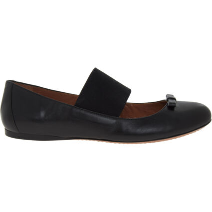 Black Leather Ballerina Shoes