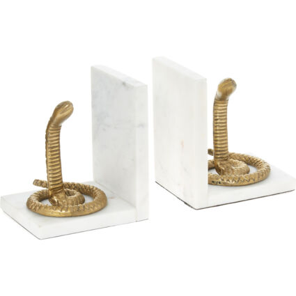 White & Gold Tone Snake Book Ends 20x11cm