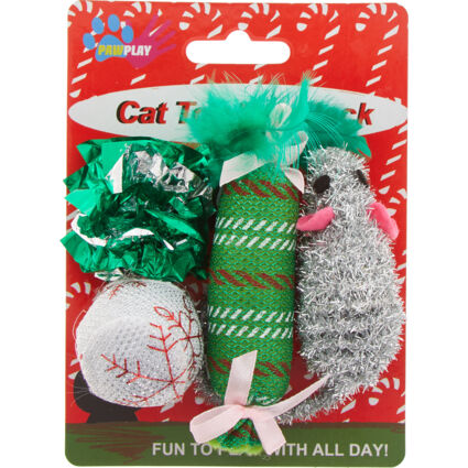Four Pack Green & Silver Festive Cat Toys