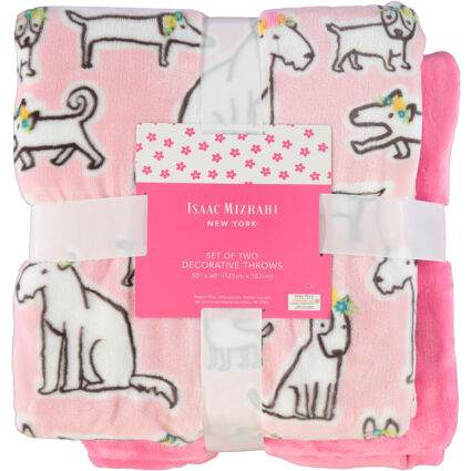 Two Pack Pink Plain & Patterned Throw Set