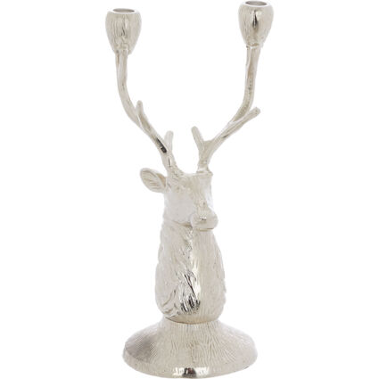 Silver Tone Reindeer Candle Holder