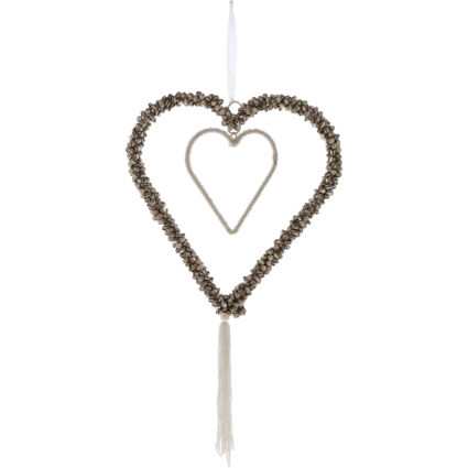 Silver Tone Beaded Bell Heart Decoration 55x25cm