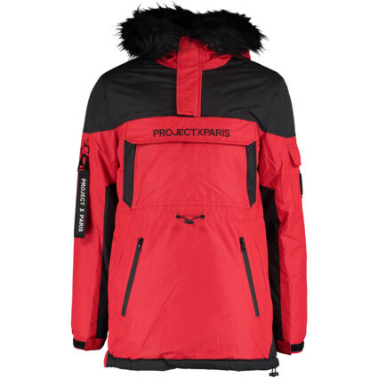 Red Padded Faux Fur Parka